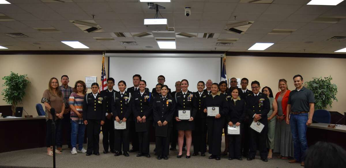 The Navy Junior Reserve Officers Training Corps is the first student group to be recognized in person at a Plainview ISD school board meeting in at least a year. The students led the board room in a pledge to the flags before receiving medals and plaques for the team's Distinguished Unit recognition from the U.S. Navy.