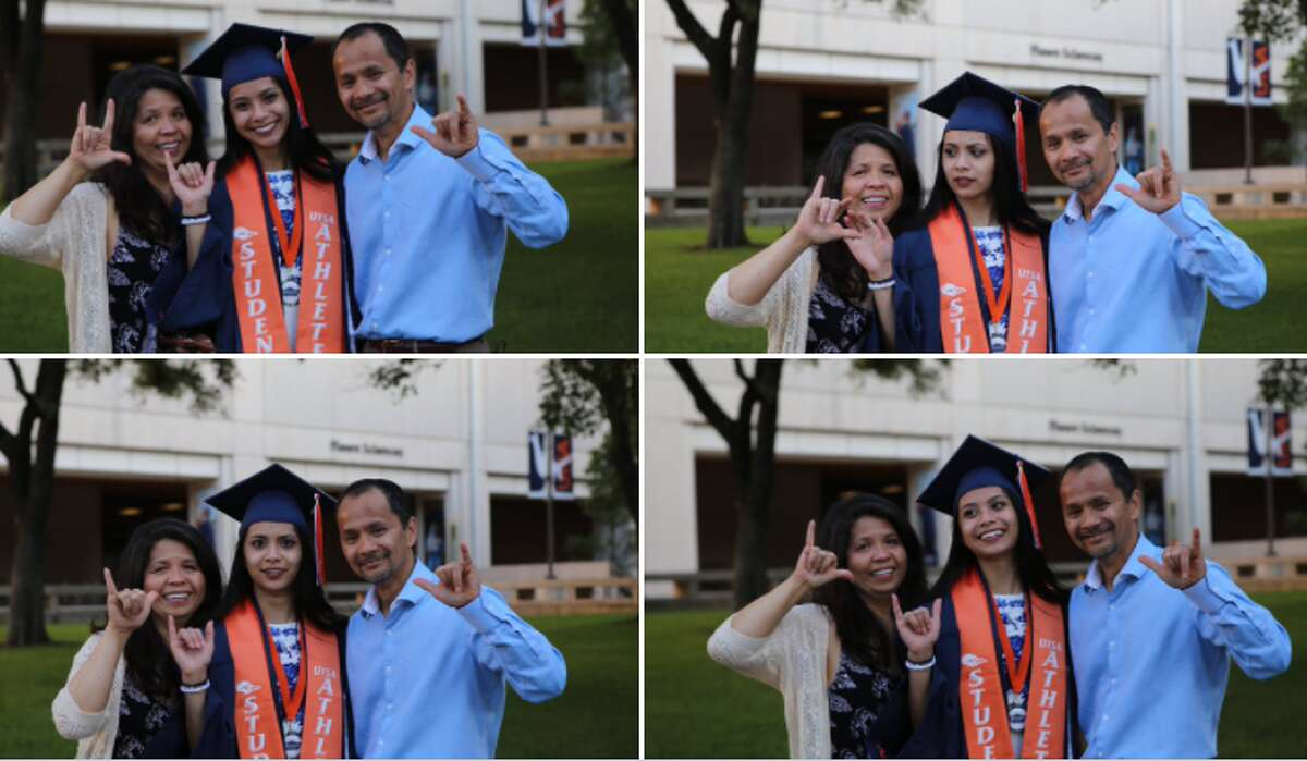 Parents of college students have the bumper stickers, sweatshirts and any other bookstore couture proving they're the 'proud' mom or dad of whatever school their kids attend, but do they have the hand signs down? For a UTSA mom, the answer is no, but at least she looks cute doing it.