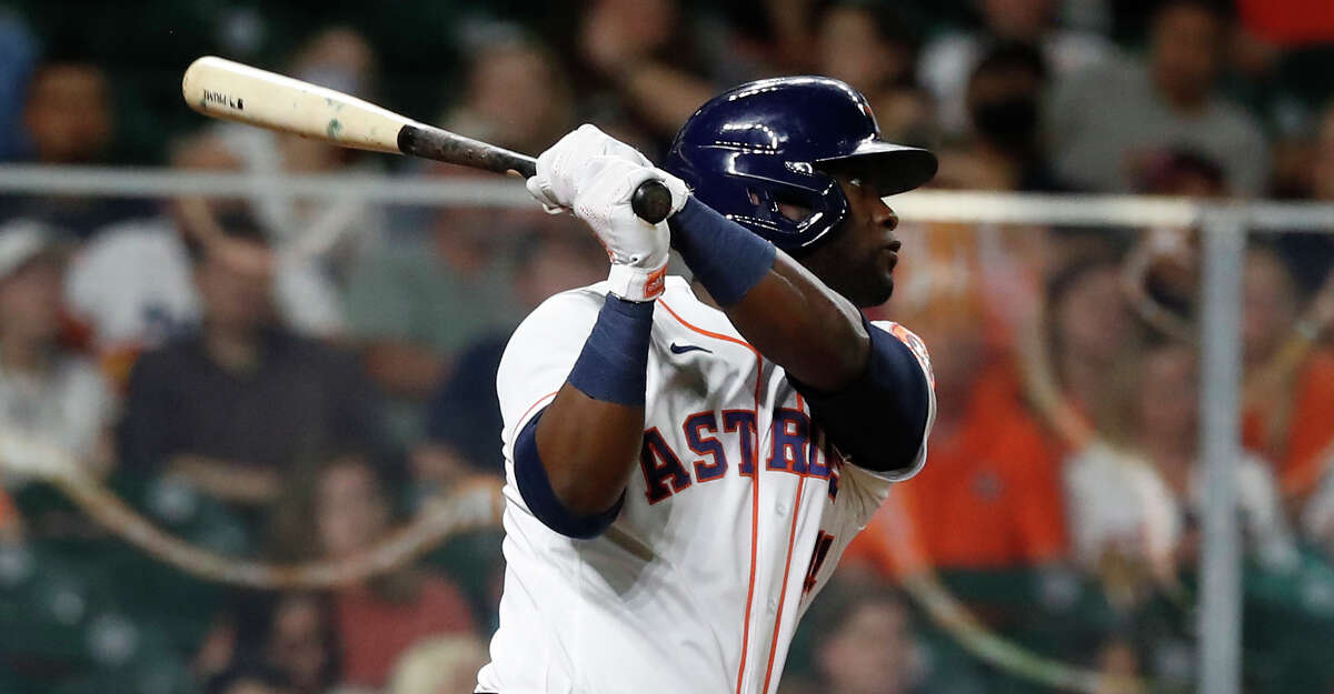 Houston Astros Yordan Alvarez (44) hits a double during the fifth inning of an MLB baseball game at Minute Maid Park, Thursday, May 13, 2021, in Houston.