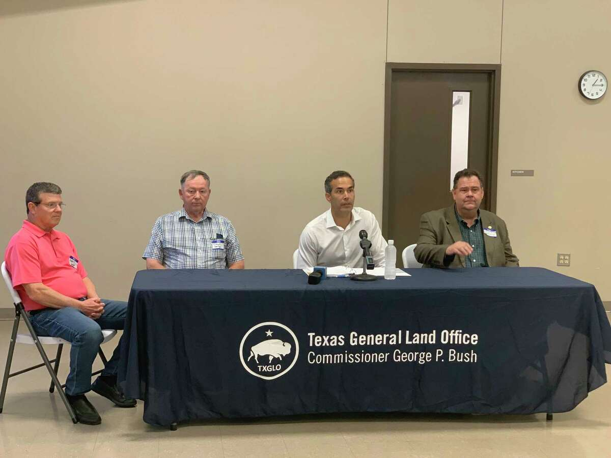 Texas Land Commissioner George P. Bush meets with Jasper County Judge Mark Allen and the Mayors of Kirbyville and Jasper to announce a historic flood control grant.