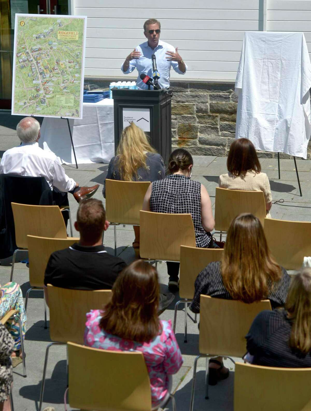 Governor Ned Lamont visited the Aldrich Contemporary Art Museum, in Ridgefield, to announce that the town has been granted the state's first Cultural District. Friday afternoon, May 21, 2021, in Ridgefield, Conn.