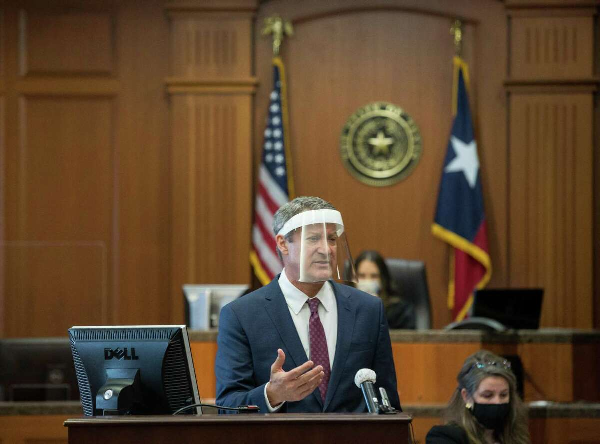 Defense attorney Tom Brown delivers his opening statement as the trial against Baylor University and two former football players accused in a sexual assault case begins at 234th Court at Harris County Civil Courthouse, on Thursday, May 20, 2021, in Houston.