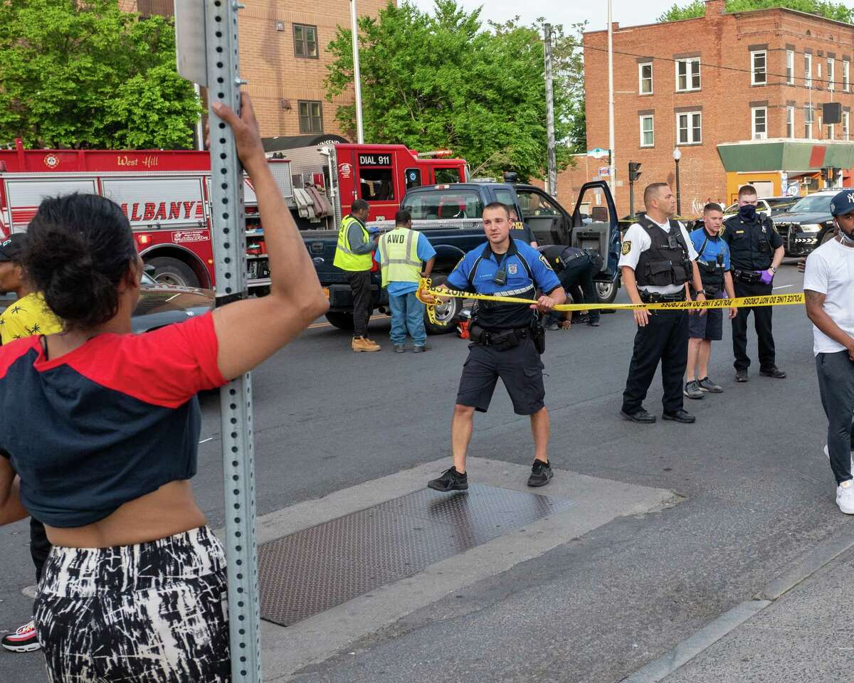 Back in May, a man was found shot outside the Townsend Park Apartments on Central Avenue near Henry Johnson Boulevard on Friday, May 21, 2021. In the late night hours Aug. 28, 2021, five men were shot near a similar location at Henry Johnson and Sherman Street. (Jim Franco/Special to the Times Union)