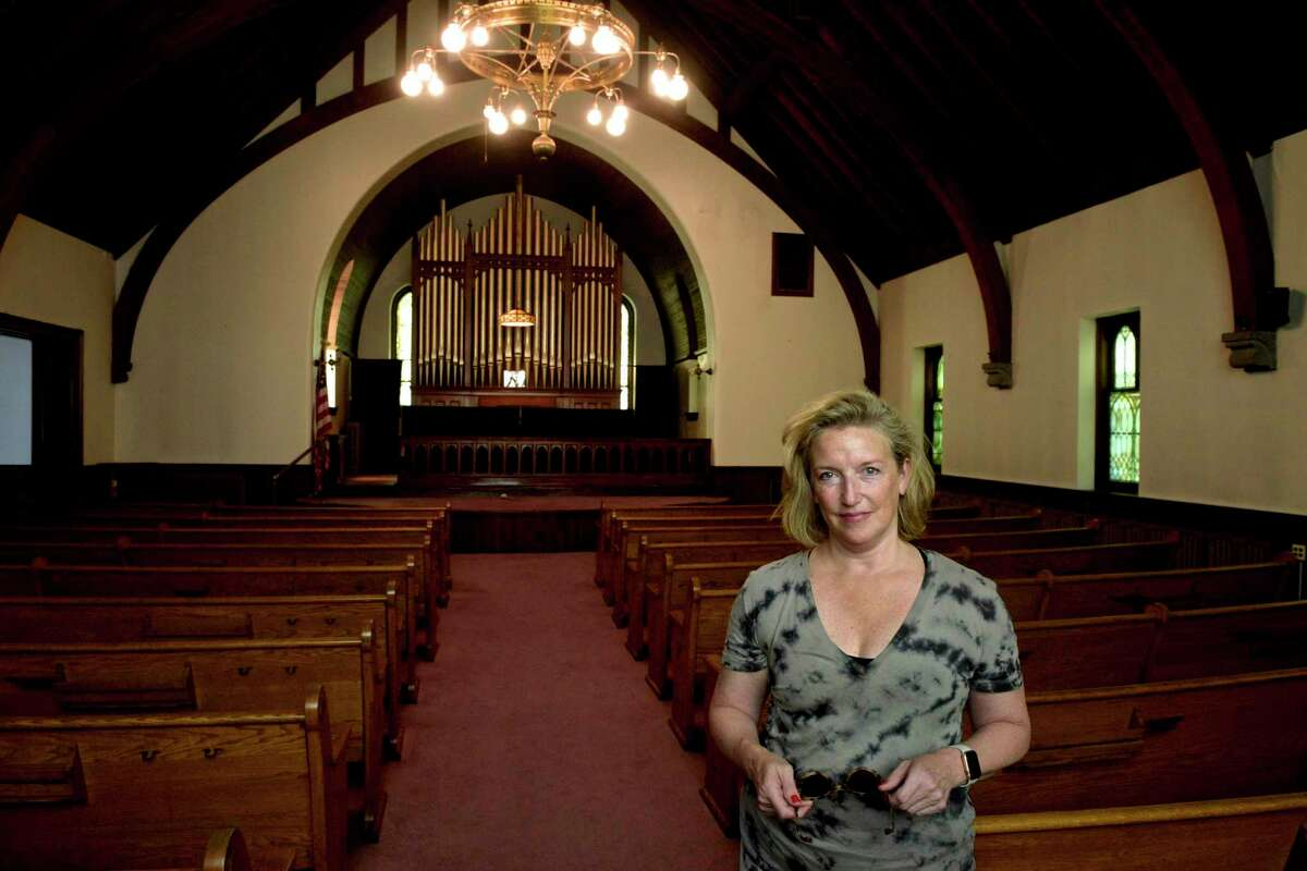 Redding First Selectwoman Julie Pemberton in the Georgetown Bible Church, 5 North Main Street, in Georgetown. The church has been there for decades, with the number of parishioners dwindling down to a few. Friday morning, May 21, 2021, in Redding, Conn.