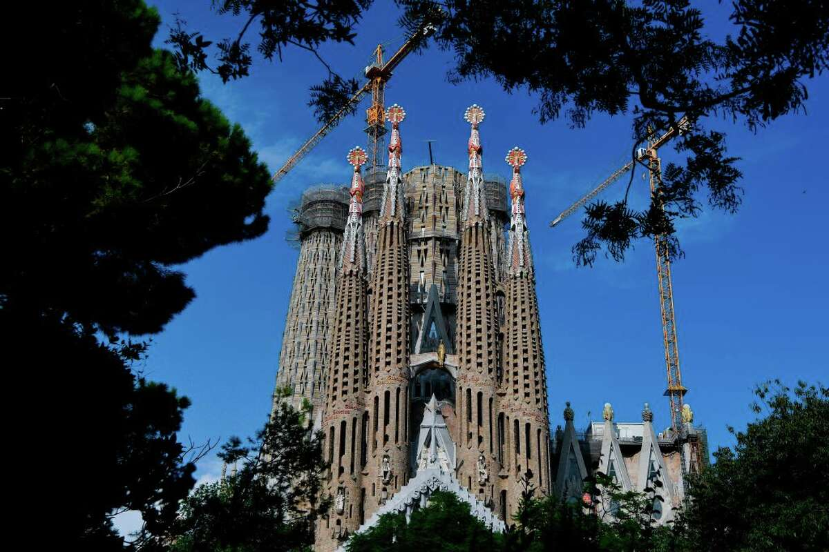 General view taken of the Sagrada Familia on September 16, 2020 in Barcelona.