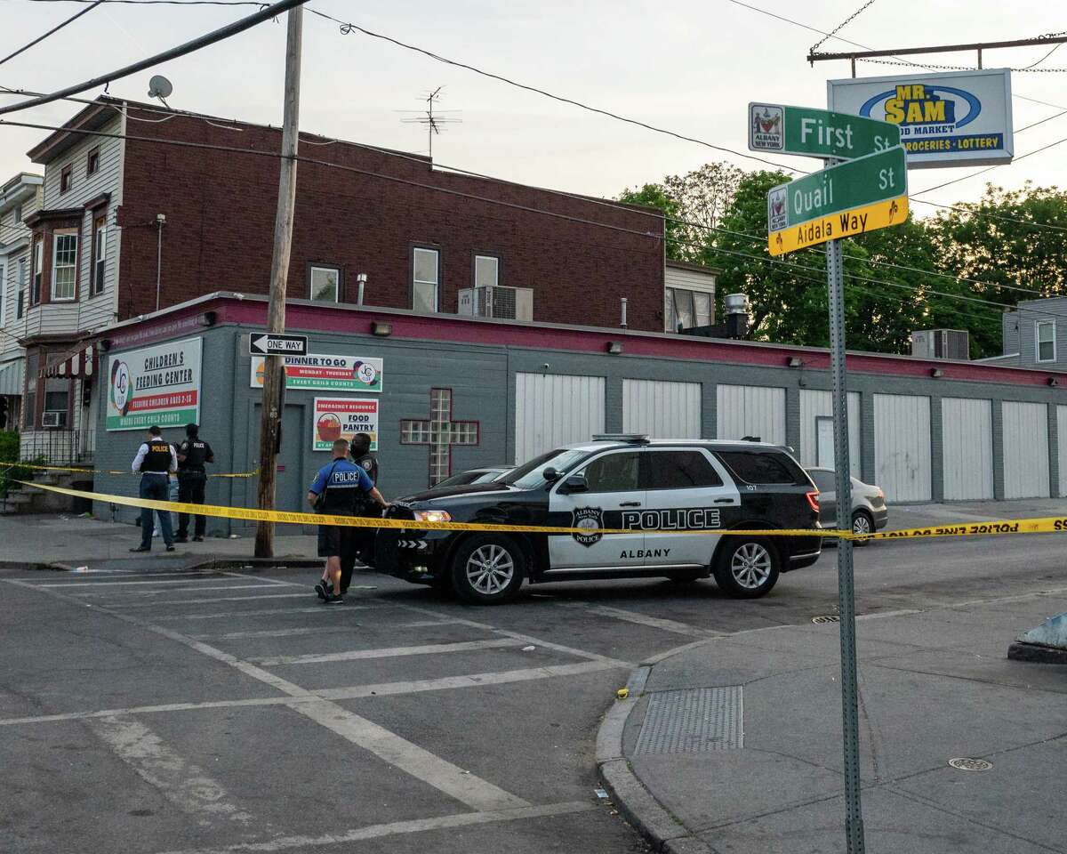 Six people were shot at First and Quail streets in Albany, NY, on Friday, May 21, 2021 (Jim Franco/Special to the Times Union)