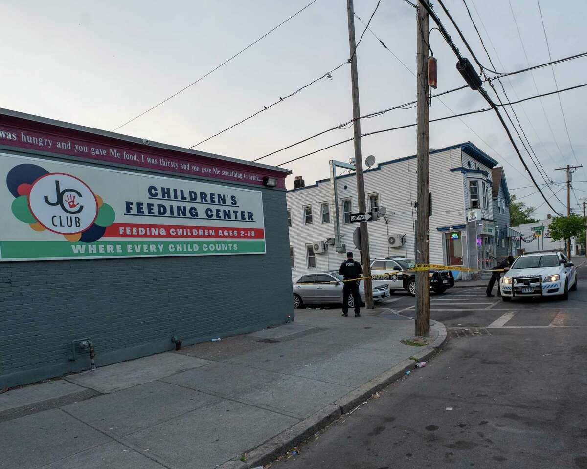 Six people were shot, one fatally, at First and Quail streets in Albany, NY, on Friday, May 21, 2021 (Jim Franco/Special to the Times Union)