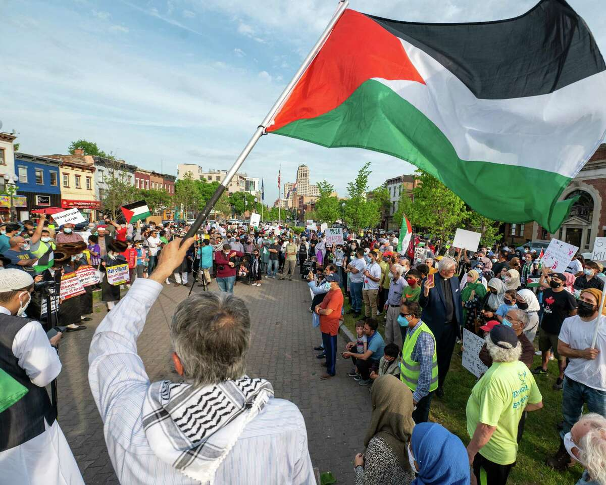 People protesting for peace in Gaza during a rally organized by the Muslim Peace Coalition at Townsend Park in Albany, NY, on Friday, May 21, 2021 (Jim Franco/Special to the Times Union)