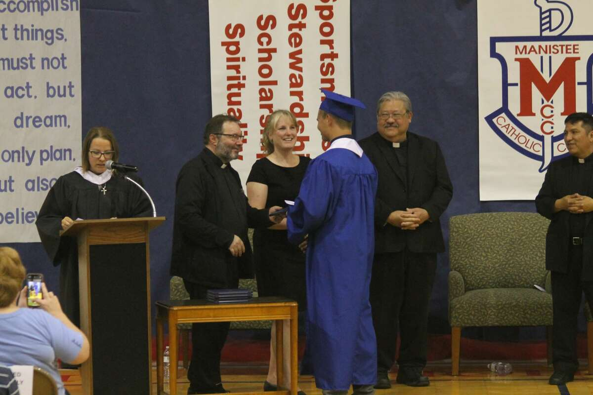 Manistee Catholic Central graduated nine during a commencement ceremony in the gymnasium on Friday evening.