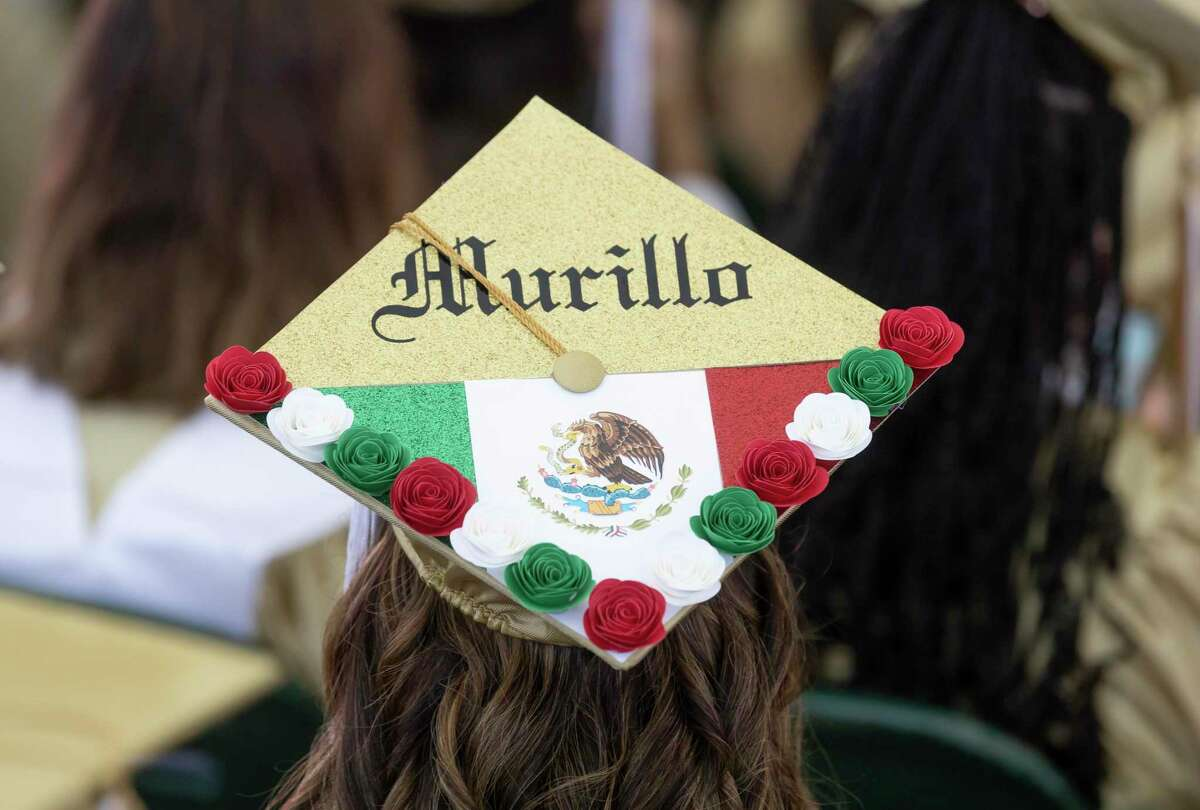 A decorated graduation cap is seen during Conroe High School's graduation ceremony at the Cynthia Woods Mitchell Pavilion, Friday, May 21, 2021, in The Woodlands.