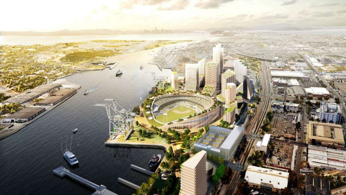 Renderings of the Oakland A's plans to build a waterfront stadium at the Port of Oakland's Howard Terminal.