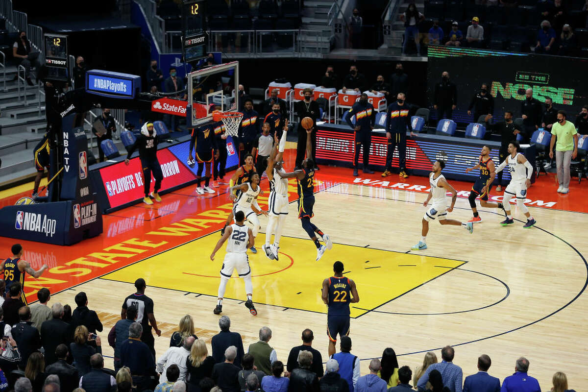 Draymond Green of the Golden State Warriors misses the final shot of the fourth quarter against the Memphis Grizzlies in the NBA Play-In Tournament game at Chase Center on May 21, 2021.