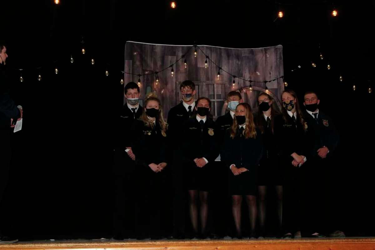 The Ubly FFA 2021-2022 officer teamis, starting with the first row, Hailey Mausolf, Maze Gusa, Emily Greyerbiehl, Makaila Cantrell, and second row, Mitchell Foote, Alex Foote, Logan Volmering, Abby Guza, and Anthony McCarty. (Courtesy Photo)