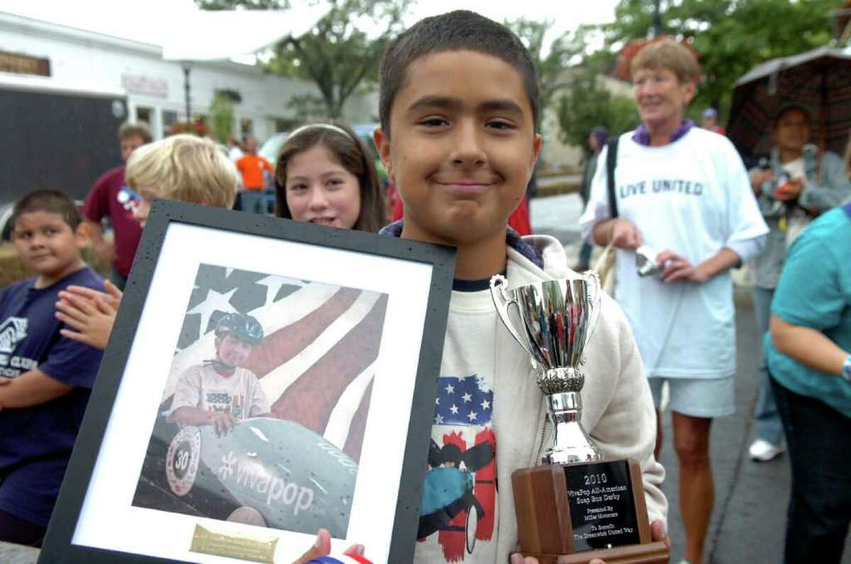 David Temoche, 11, took third place in the Soap Box Derby on Sunday, Sept. 12, 2010.