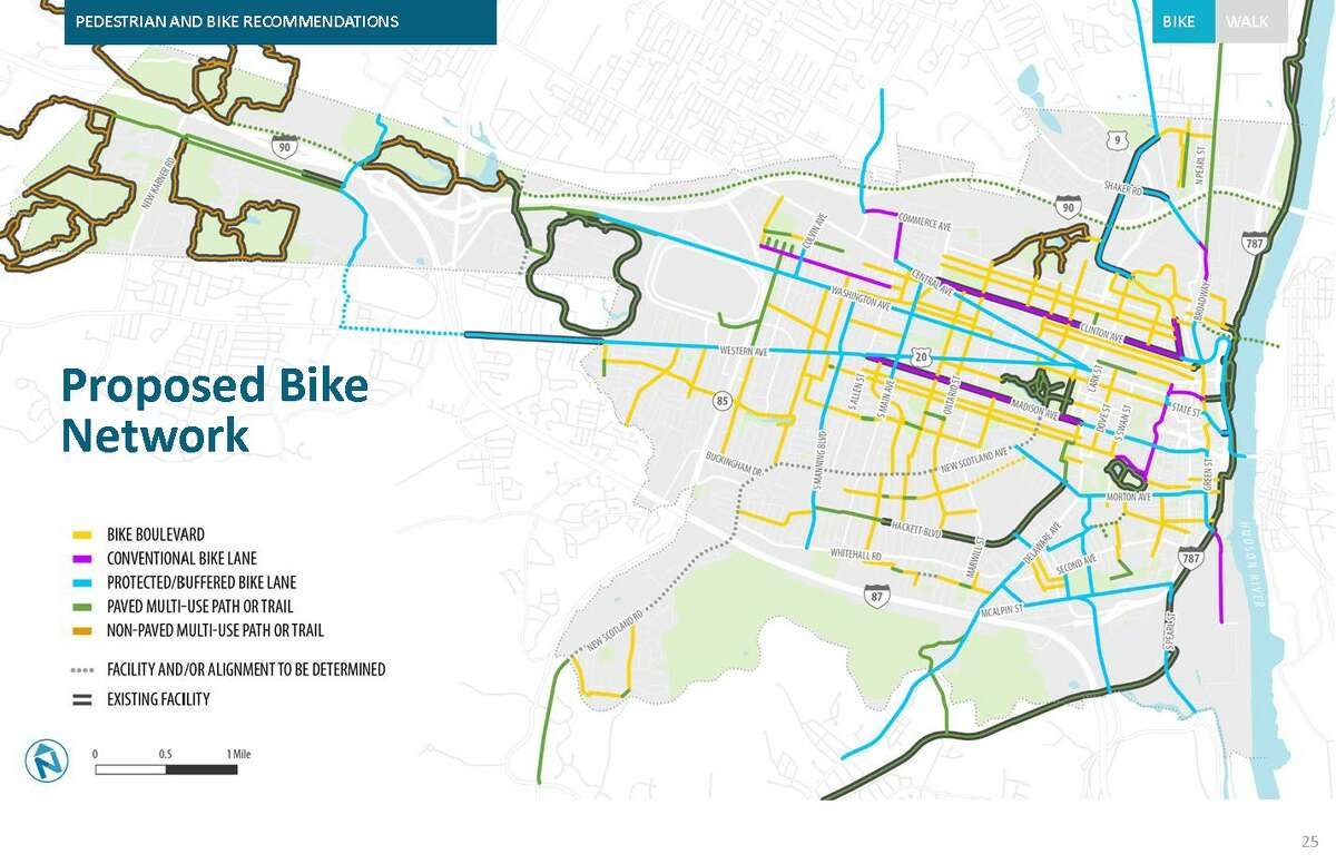 Here's a map of the proposed bike/pedestrian plan for Albany.
