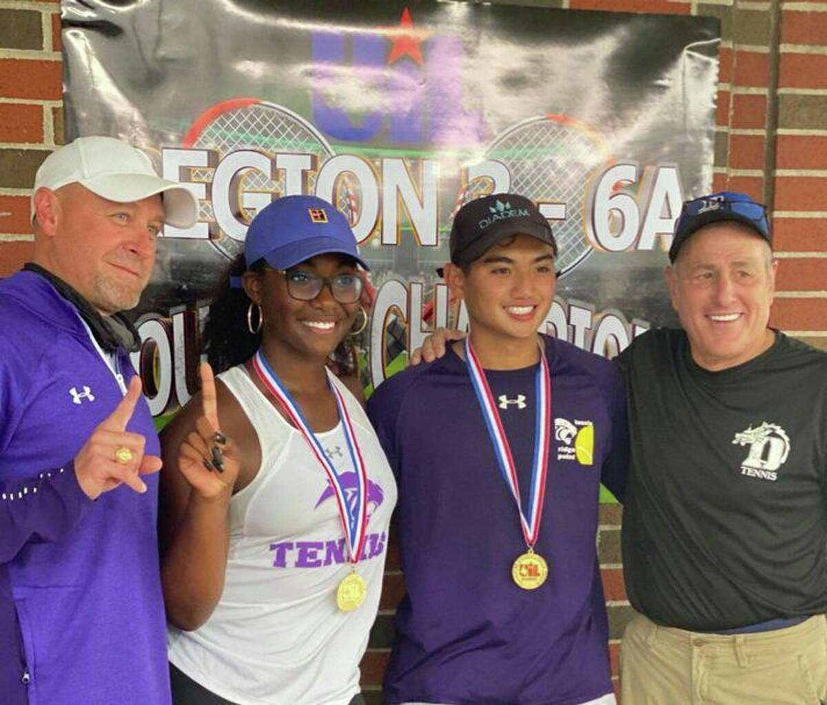 The Ridge Point mixed doubles team of Jada Hill and Mario Dominguez competed at the Class 6A state tournament after winning the Region III-6A championship.