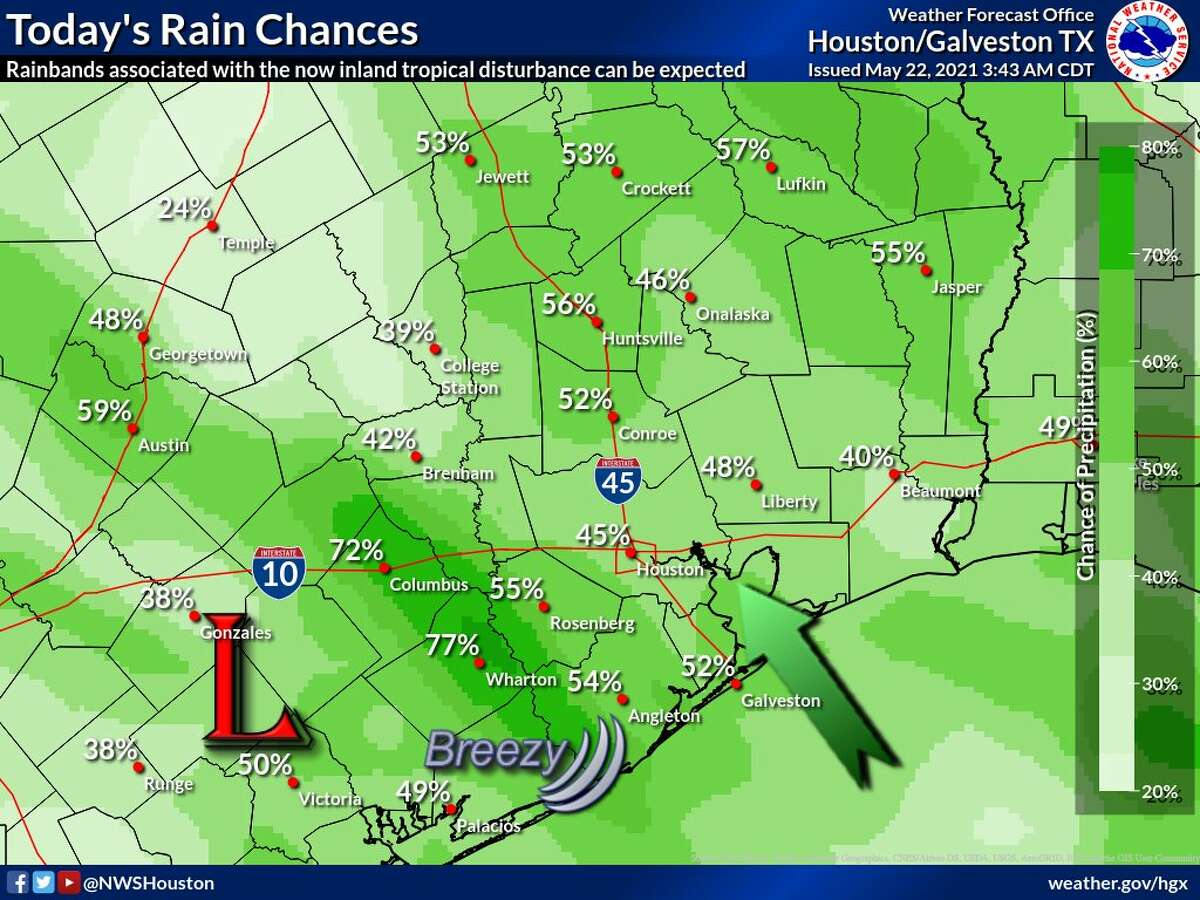 The weather forecast for Saturday in southeast Texas from the National Weather Service.