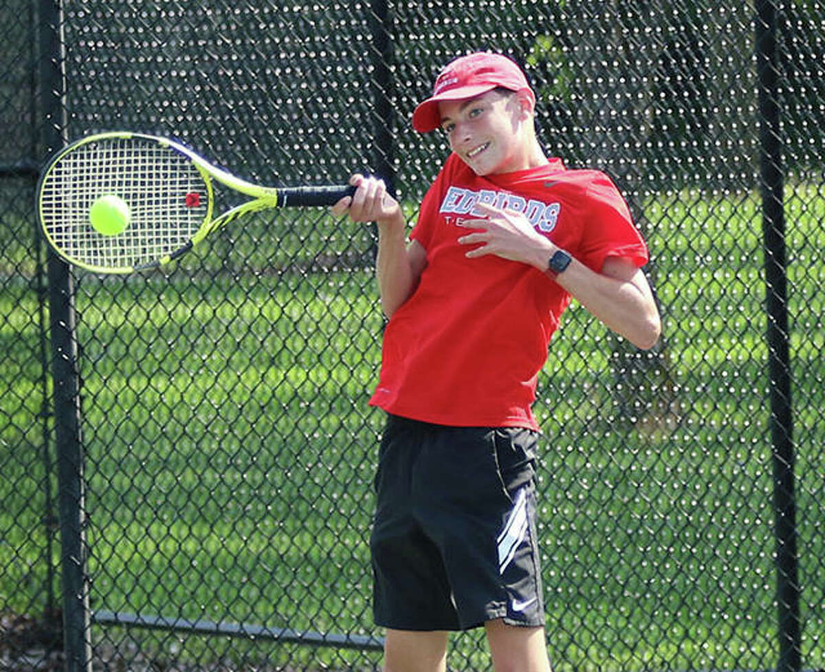 Alton's Parker Mayhew was a singles winner Friday in his team's 5-4 victory over Waterloo. He is shown in action earlier this season.