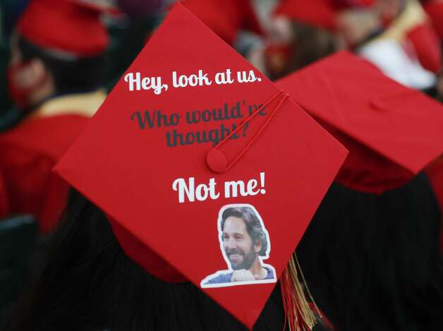 A decorated graduation cap is seen during a Caney Creek High School graduation ceremony at Cynthia Woods Mitchell Pavilion, Saturday, May 22, 2021, in The Woodlands. Photo: Jason Fochtman/Staff Photographer / 2021 ? Houston Chronicle