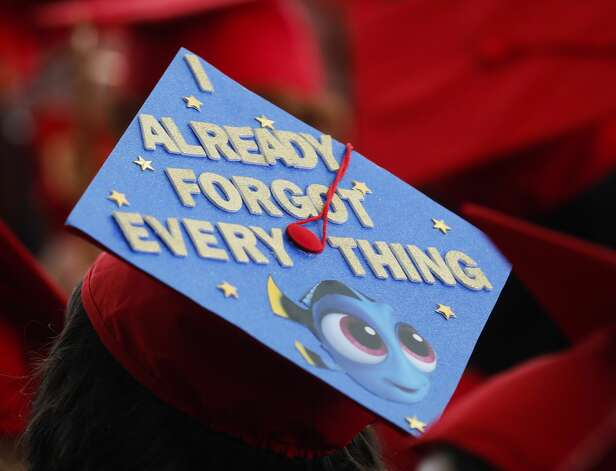 A decorated graduation cap is seen during a Caney Creek High School graduation ceremony at Cynthia Woods Mitchell Pavilion, Saturday, May 22, 2021, in The Woodlands. Photo: Jason Fochtman/Staff Photographer / 2021 © Houston Chronicle