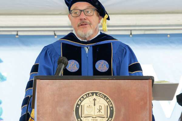 Thomas Gamble, president of Maria College, speaks at the Conferral of Degrees and White Tea Celebration at Maria College in Albany, NY, on Saturday, May 21, 2021 (Jim Franco/Special to the Times Union)