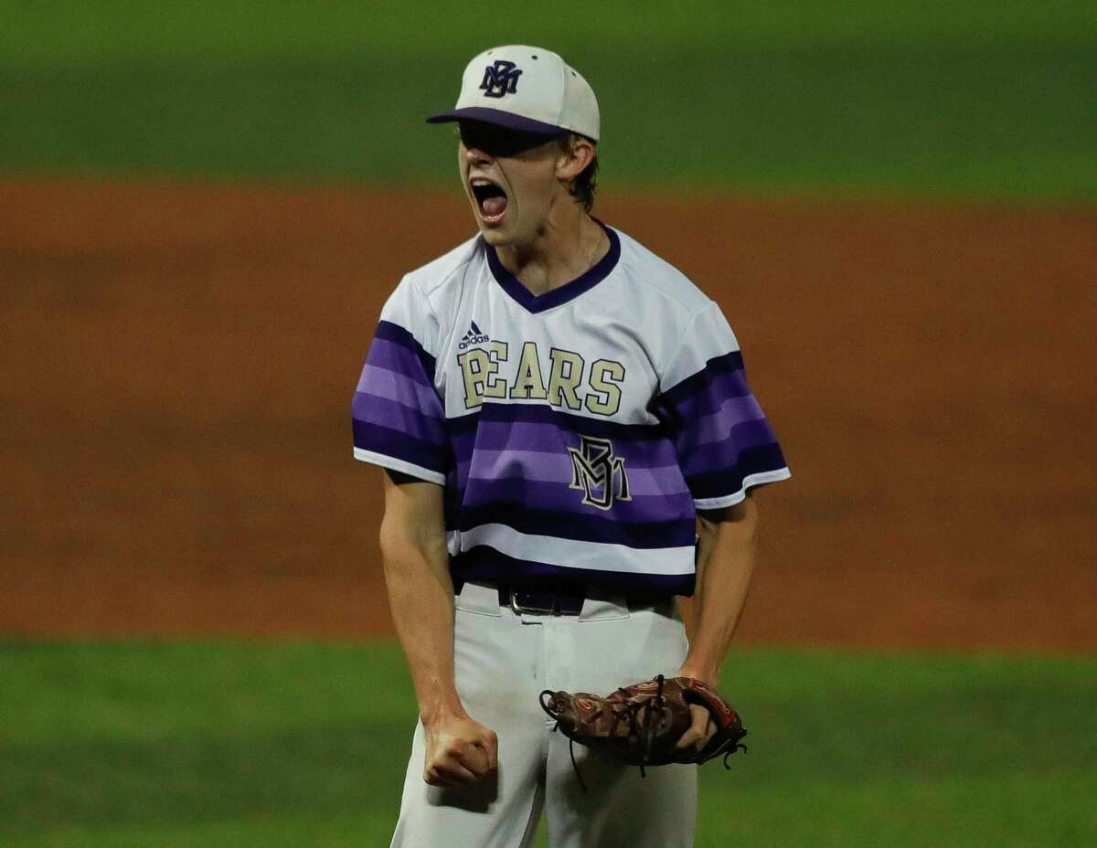 Montgomery pitcher Connor Benge is seen in the first inning of Game 2 of a high school baseball Region II-6A quarterfinal series at Sam Houston State University, Friday, May 21, 2021, in Huntsville.