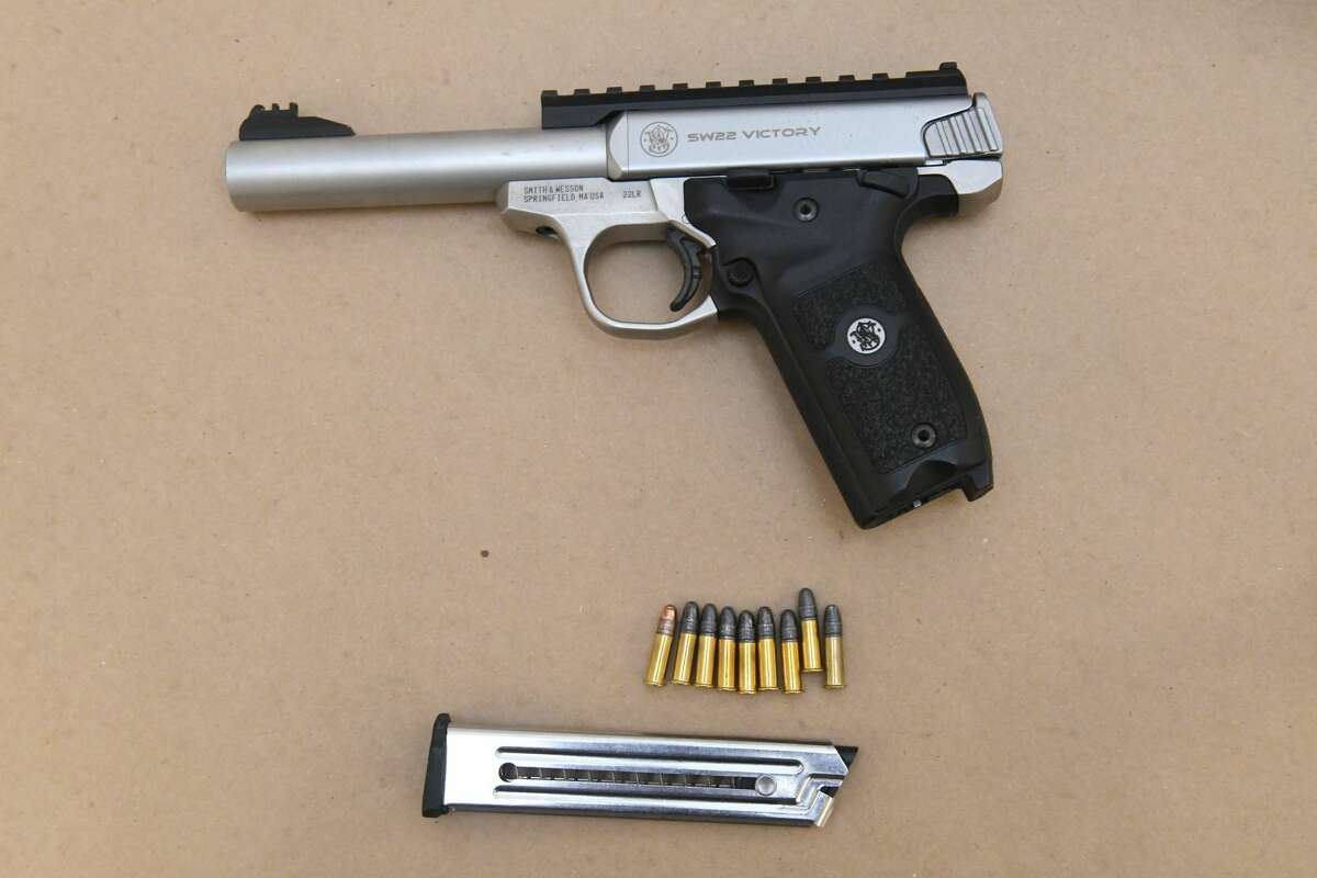 A 22-caliber gun was recovered after a car crash on First Street and North Lake Avenue.