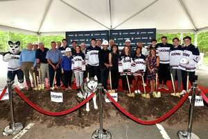 Scenes from Saturday's groundbreaking ceremony for a new $70 million hockey arena at UConn.