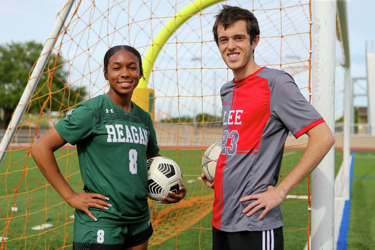 The Express-News' Girls Player of the Year, Reagan's Taylor Jernigan, and Boys Player of the year, LEE's Henry Bowland, at Comalander Stadium on Wednesday, May 19, 2021.