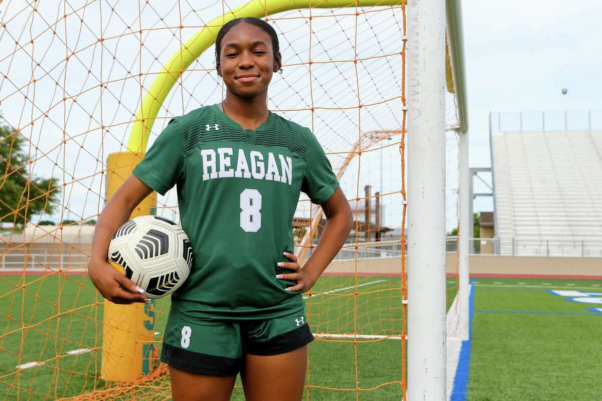 The Express-News' Girls Player of the Year, Reagan's Taylor Jernigan, at Comalander Stadium on Wednesday, May 19, 2021.