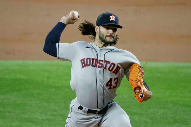 Houston Astros starting pitcher Lance McCullers Jr. (43) throws against the Texas Rangers during the first inning of a baseball game Saturday, May 22, 2021, in Arlington, Texas. (AP Photo/Michael Ainsworth) Photo: Michael Ainsworth, Associated Press / Copyright 2021 The Associated Press. All rights reserved.