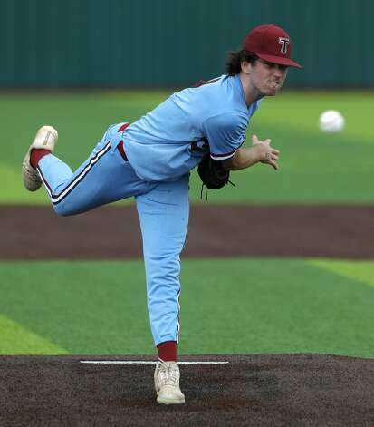 Katy Tompkins starting pitcher Michael DeBattista (7) throws in the first inning during Game 3 of a Region II-6A high school baseball quarterfinal series at Tomball Memorial High School, Saturday, May 22, 2021, in Tomball. Photo: Jason Fochtman/Staff Photographer / 2021 © Houston Chronicle