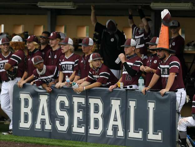 Will Herr #9 of Cy-Fair wears a traffic cone on his hear in the first inning during Game 3 of a Region II-6A high school baseball quarterfinal series at Tomball Memorial High School, Saturday, May 22, 2021, in Tomball. Photo: Jason Fochtman/Staff Photographer / 2021 © Houston Chronicle