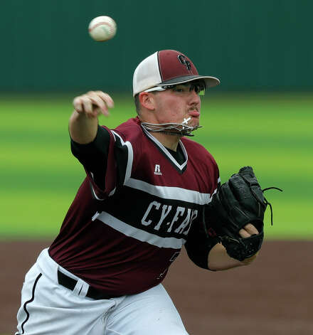 Cy-Fair starting pitcher Jonathan Burrer (7) throws in the first inning during Game 3 of a Region II-6A high school baseball quarterfinal series at Tomball Memorial High School, Saturday, May 22, 2021, in Tomball. Photo: Jason Fochtman/Staff Photographer / 2021 © Houston Chronicle