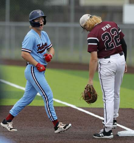 Will Stark #4 of Katy Tompkins reacts after hitting a single in the first inning during Game 3 of a Region II-6A high school baseball quarterfinal series at Tomball Memorial High School, Saturday, May 22, 2021, in Tomball. Photo: Jason Fochtman/Staff Photographer / 2021 © Houston Chronicle