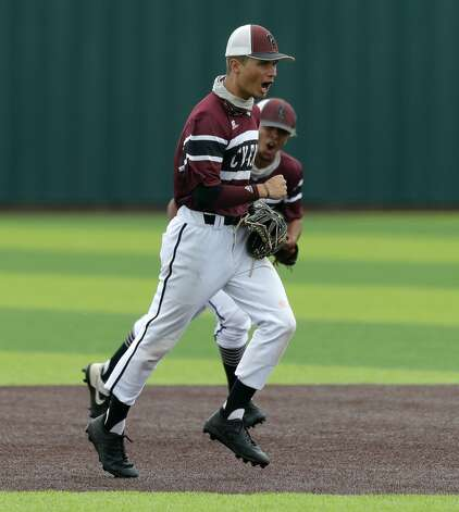 Cy-Fair shortstop Conner Brooks (4) reacts after turning a double play to end the first inning during Game 3 of a Region II-6A high school baseball quarterfinal series at Tomball Memorial High School, Saturday, May 22, 2021, in Tomball. Photo: Jason Fochtman/Staff Photographer / 2021 © Houston Chronicle