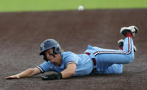 Will Stark #4 of Katy Tompkins steals third base in the first inning during Game 3 of a Region II-6A high school baseball quarterfinal series at Tomball Memorial High School, Saturday, May 22, 2021, in Tomball. Photo: Jason Fochtman/Staff Photographer / 2021 © Houston Chronicle