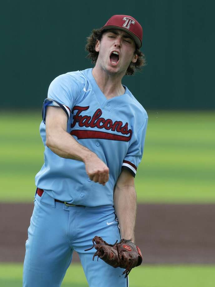 Katy Tompkins starting pitcher Michael DeBattista (7) reacts after striking out Conner Brooks #4 of Cy-Fair to end the top of the second inning during Game 3 of a Region II-6A high school baseball quarterfinal series at Tomball Memorial High School, Saturday, May 22, 2021, in Tomball. Photo: Jason Fochtman/Staff Photographer / 2021 © Houston Chronicle