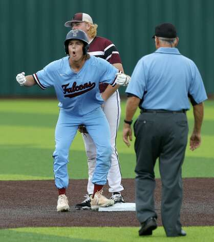 Jack Little #22 of Katy Tompkins reacts after hitting an RBI double in the third inning during Game 3 of a Region II-6A high school baseball quarterfinal series at Tomball Memorial High School, Saturday, May 22, 2021, in Tomball. Photo: Jason Fochtman/Staff Photographer / 2021 © Houston Chronicle