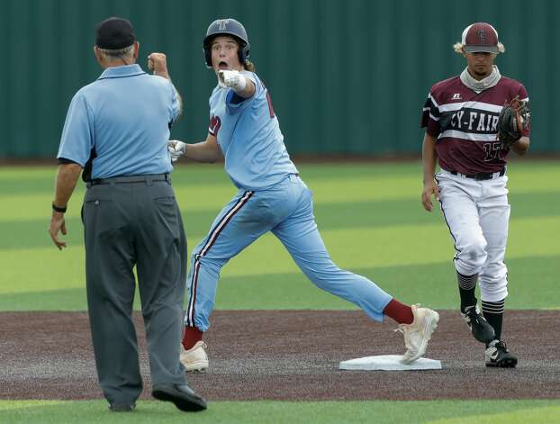 Jace LaViolette #12 of Katy Tompkins reacts toward the second-base umpire after being called out trying to advance to second in the fifth inning during Game 3 of a Region II-6A high school baseball quarterfinal series at Tomball Memorial High School, Saturday, May 22, 2021, in Tomball. Photo: Jason Fochtman/Staff Photographer / 2021 © Houston Chronicle