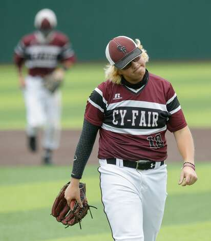 Cy-Fair relief pitcher Cade Griffin (10) reacts after giving up a run in the fifth inning during Game 3 of a Region II-6A high school baseball quarterfinal series at Tomball Memorial High School, Saturday, May 22, 2021, in Tomball. Photo: Jason Fochtman/Staff Photographer / 2021 © Houston Chronicle