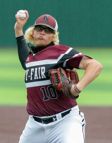 Cy-Fair relief pitcher Cade Griffin (10) throws in the sixth inning during Game 3 of a Region II-6A high school baseball quarterfinal series at Tomball Memorial High School, Saturday, May 22, 2021, in Tomball. Photo: Jason Fochtman/Staff Photographer / 2021 © Houston Chronicle