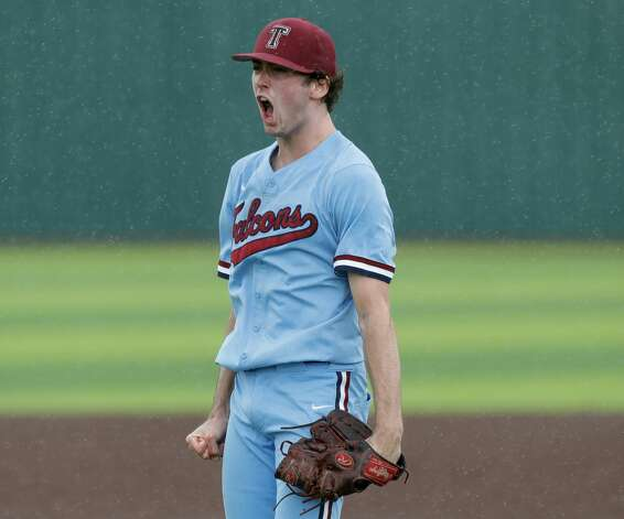 Katy Tompkins starting pitcher Michael DeBattista (7) reacts after striking out Garrett Stills #24 of Cy-Fair in the sixth inning during Game 3 of a Region II-6A high school baseball quarterfinal series at Tomball Memorial High School, Saturday, May 22, 2021, in Tomball. Photo: Jason Fochtman/Staff Photographer / 2021 © Houston Chronicle