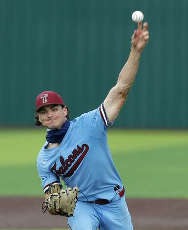 Katy Tompkins relief pitcher Jace LaViolette (12) throws in the seventh inning during Game 3 of a Region II-6A high school baseball quarterfinal series at Tomball Memorial High School, Saturday, May 22, 2021, in Tomball. Photo: Jason Fochtman/Staff Photographer / 2021 © Houston Chronicle