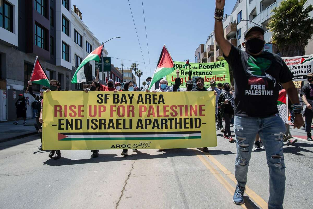 A crowd at San Francisco's Civic Center protests Israeli government policies in the West Bank during a march Saturday.