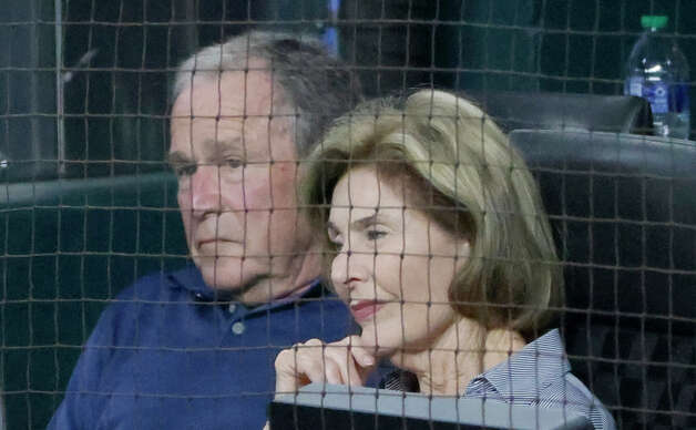 ARLINGTON, TX - MAY 22: Former president George W. Bush and wife Laura Bush watch the Houston Astros play the Texas Rangers during the fourth inning at Globe Life Field on May 22, 2021 in Arlington, Texas. (Photo by Ron Jenkins/Getty Images) Photo: Ron Jenkins/Getty Images / 2021 Getty Images