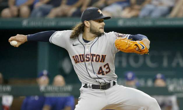 ARLINGTON, TX - MAY 22: Lance McCullers Jr. #43 of the Houston Astros pitches against the Texas Rangers at Globe Life Field during the first inning on May 22, 2021 in Arlington, Texas. (Photo by Ron Jenkins/Getty Images) Photo: Ron Jenkins/Getty Images / 2021 Getty Images