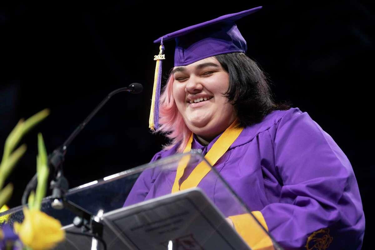 Izabella Marie Borja offers a graduation speech during Booker T. Washington High School's graduation ceremony at The Ark Church.