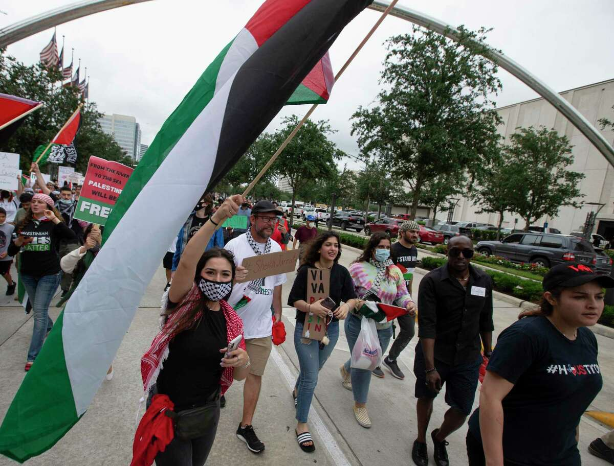 More than a thounsad people participate the Houston Stands with Palestine rally and march Saturday, May 22, 2021,The Galleria in Houston.