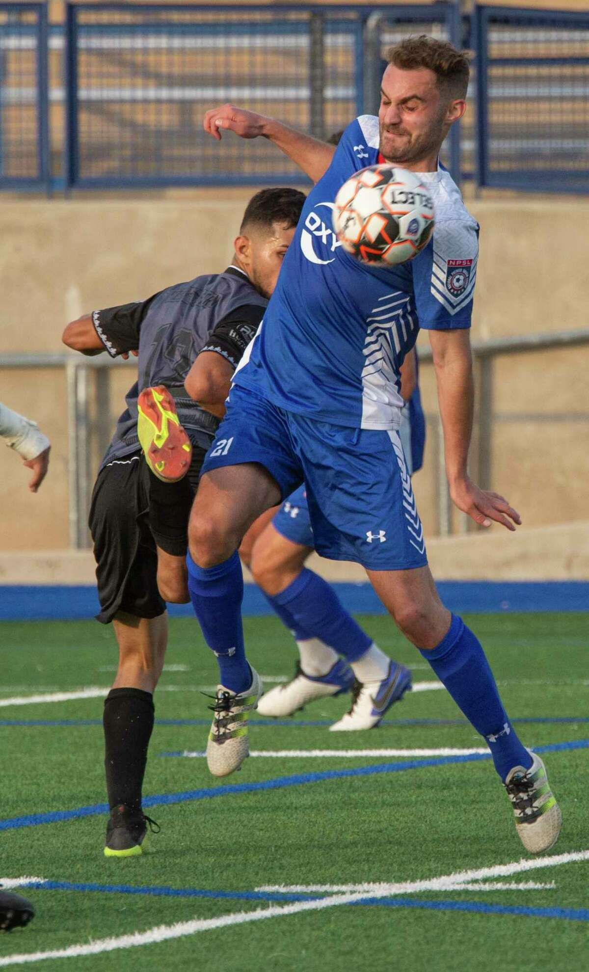 Sockers' Victor Luengo Garcia tries to control the ball as a Brownsville's Julian Espinoza tries to kick it away 5/22/2021 at Grande Communications Stadium. Tim Fischer/Reporter-Telegram